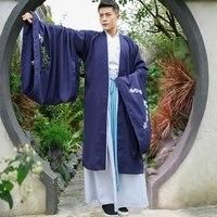 2018 New Chinese National Hanfu Black Ancient China Costume Hanfu Men Clothing Traditional National Tang Suit