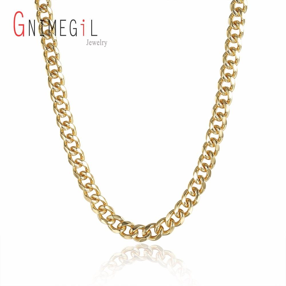 Gnimegil wholesale 7mm 20 gold cuban curb chain necklace male body description item type chains necklaces aloadofball Image collections