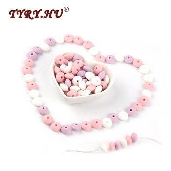 Perles de Silicone TYRY. HU 60psc perles de lentilles de qualité alimentaire cadeaux de dentition pour bébé jouets de dentition à croquer pour la fabrication de chaîne de sucette bricolage
