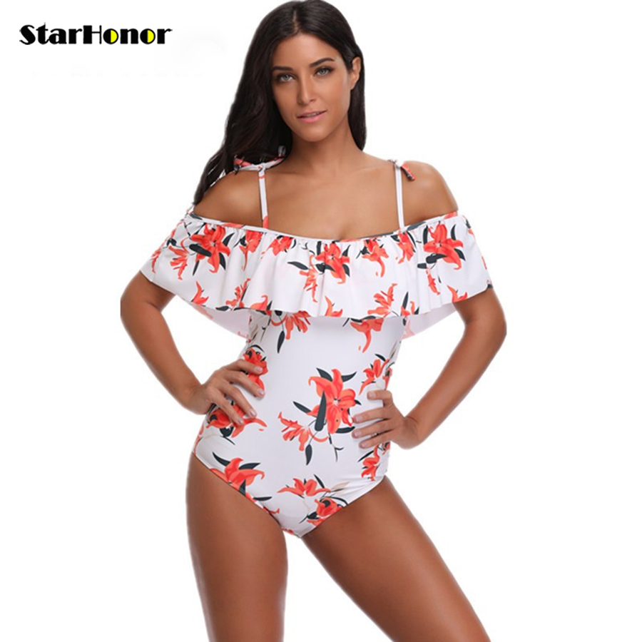 <font><b>2018</b></font> <font><b>Sexy</b></font> Bikini Woman Print Floral <font><b>One</b></font> <font><b>Piece</b></font> Off Shoulder <font><b>Swimsuit</b></font> Push Up Swimwear Bandeau Monokini Beachwear <font><b>Bathing</b></font> Suit image