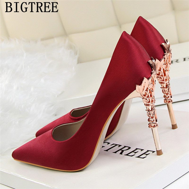 Red Heels Wedding Shoes Bride New Arrival 2019 Women High Heels Dress Shoes Women Black Heels Bigtree Shoes Zapatos Mujer Tacon