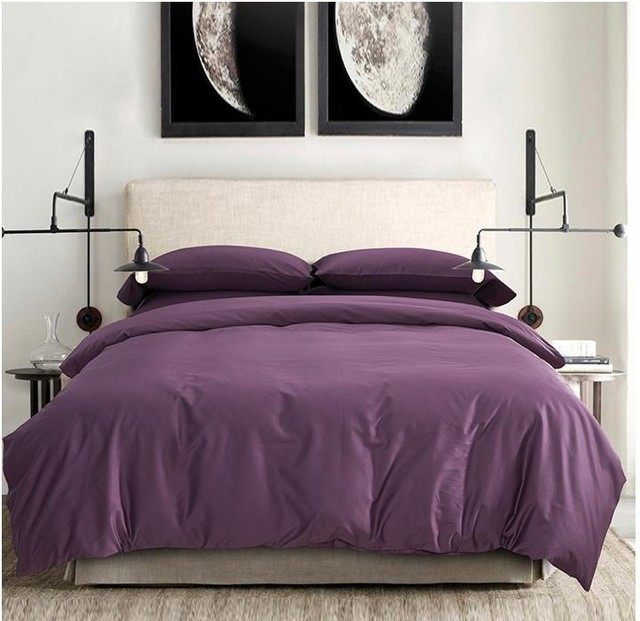 100 Egyptian Cotton Sheets Dark Deep Purple Bedding Sets