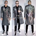 Big Size S-4XL Men's Sequins Long Jacket Silver Gray Long Design Coat Singer Dance Stage Wear Outerwear Bright Costume Outfit
