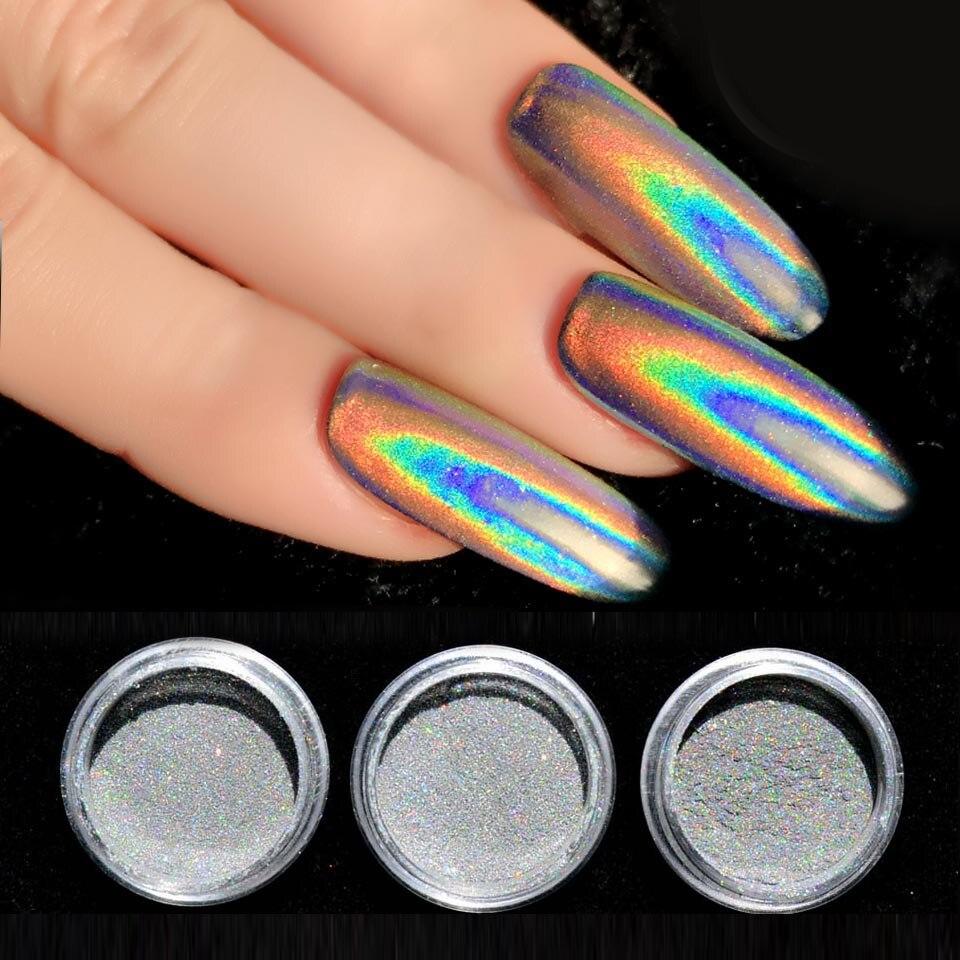 0.2g Laser Nail Glitter Powder Unicorn Holographic Nail Powder Glitter Holo Rainbow Chrome Mirror Powder Nail Art Dust SF2014