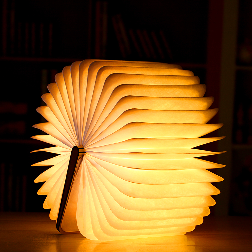 Rechargeable Folding Book Light Wooden Light Book Lamp Led Folding Wooden Book Figurines Bedroom Valentines Day Decoration Craft (4)
