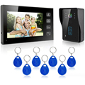 "High Tech 7"" Video Door Phone Doorbell Intercom IR Camera Monitor Electric Strike Lock RFID Keyfobs"