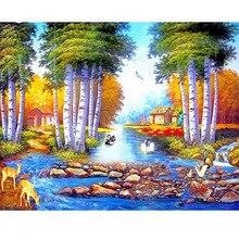 3D Diamond Painting Cross Stitch Pattern 5D  Embroidery Natural Landscape Mosaic Full Home Decor DIY JS1627