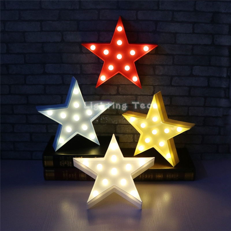 lovely white yellow blue red pink star design led nightlight decor lamps led light marquee sign. Black Bedroom Furniture Sets. Home Design Ideas
