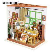 Robotime DIY Ada's Studio Children Adult Miniature Wooden Doll House with Furniture Model Building Dollhouse Toys DG103