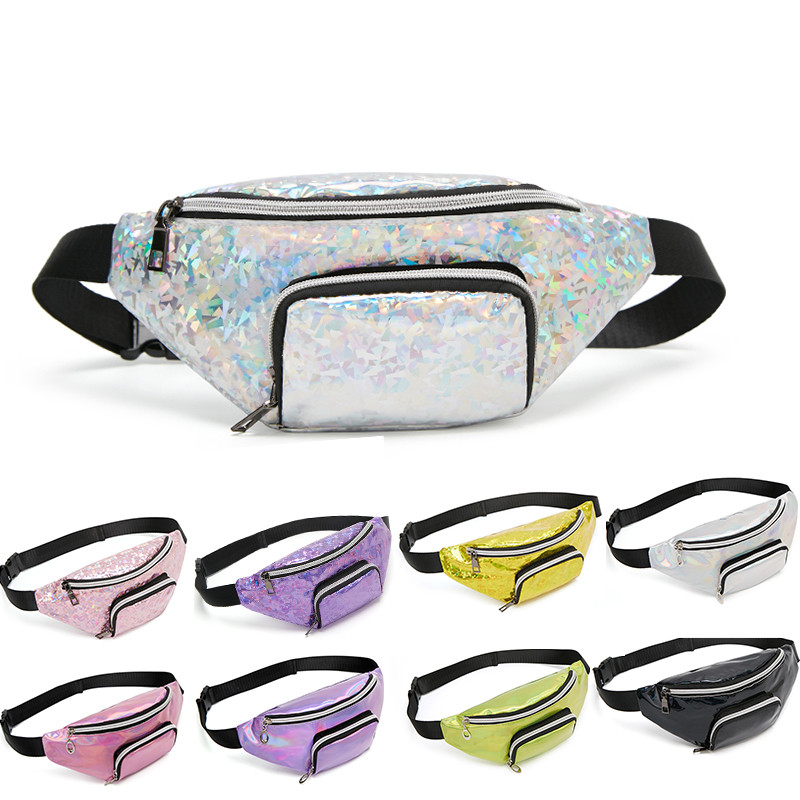Sequins Holographic Fanny Pack Female Fashion Waist Pack Women's Laser Chest Waist Bag Girls Belt Bag Travel Bum Bag 2019 New