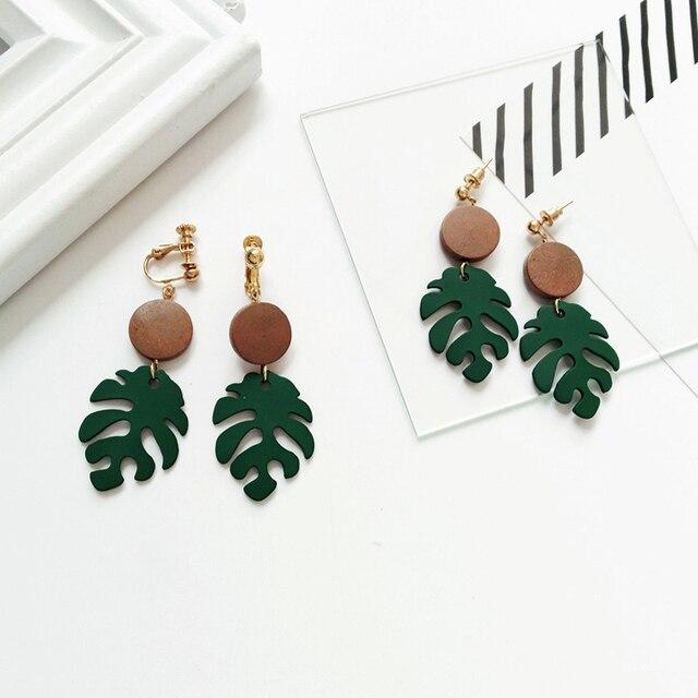 Retro wood leaves earrings 6