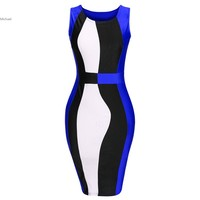 2016 Fashion Women Colours Blocks Dresses Bandage Slim Fit Women Pencil Dress Plus Size Vestido Casual