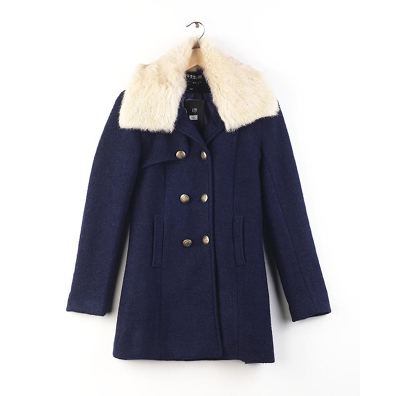 ФОТО Warm Femme  Winter Parka Coat Women 2016 News Coat Europe Thicker Warm Coat Cashmere Double - Breasted Slim Collar Coat  YH773