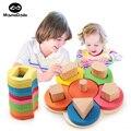 Material de enseñanza Montessori estera juguetes educativos para bebés de madera Montessori enseñanza ayuda flor Forma conjunto de columna