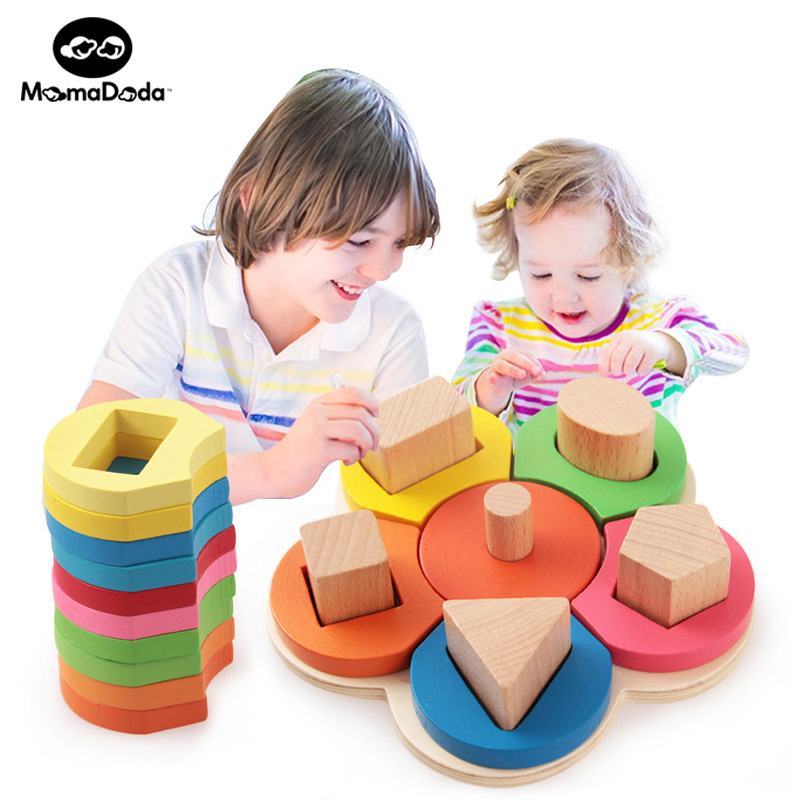Montessori Undervisningsmaterial Mat Baby Utbildningsleksaker För Baby Trä Montessori Undervisningshjälp Blommans Sättning Kolumn