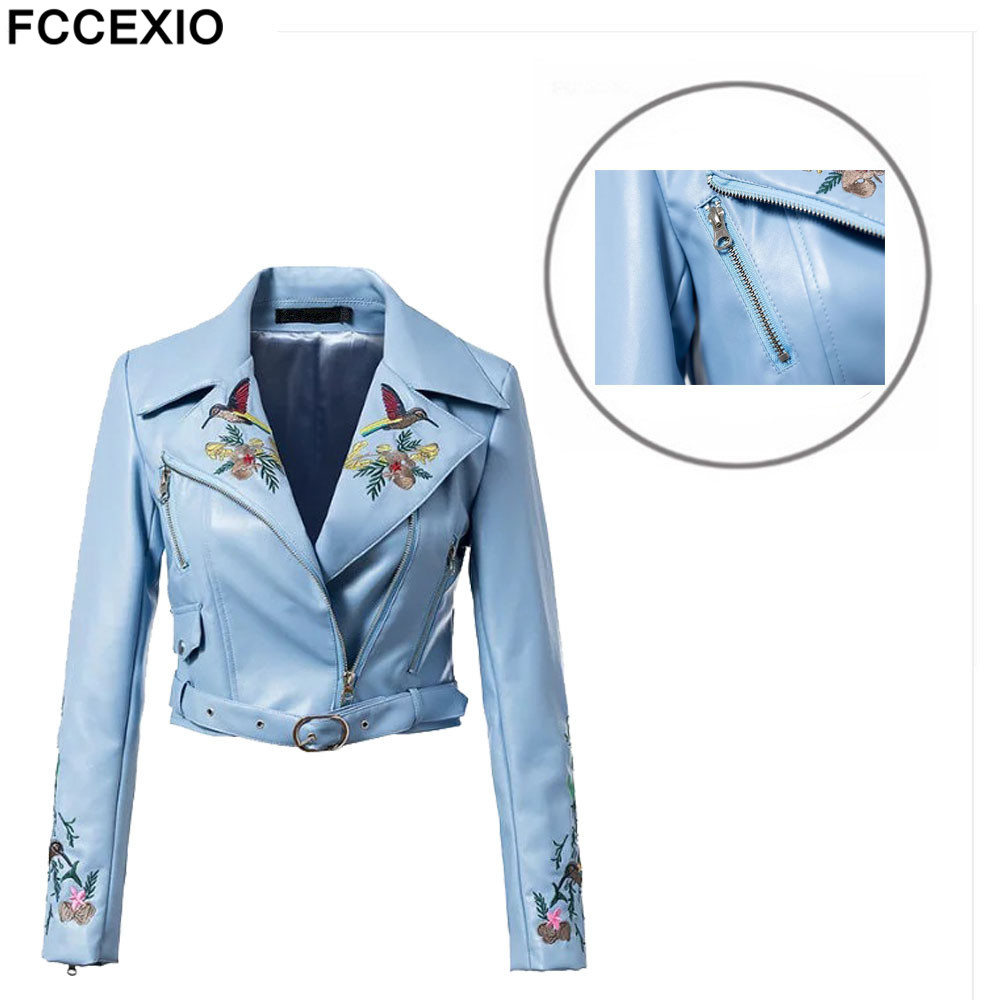 FCCEXIO 2019 Slim Faux   Leather   Jacket Motorcycle Zipper Long Sleeve Jackets Embroidery Fashion Short Coats PU Outerwear S-4XL
