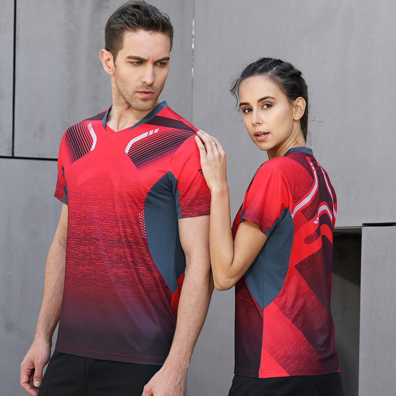 Red Running Sport Quick Dry Breathable Badminton T-Shirt,Women/Men Table Tennis Training Patchwork T Shirts High Quality