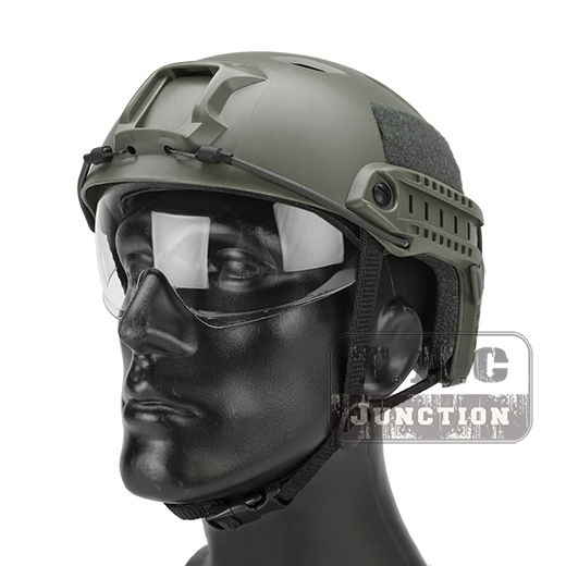 Emerson Tactical Airsoft Fast Helmet Bump Jump BJ Type Combat Lightweight Modular OPS Helmet w/ Flip Down Visor + Side Rail militech fast aor2 bj high cut style vented airsoft tactical helmet ops core style base jump training helmet air soft helmet