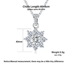 Luxury Crystal Snowflake Pendants &Necklaces Genuine 925 Sterling Silver Necklace