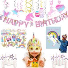 1set Unicorn Party Decorations Ideas Happy Birthday Party Banner For Kids Unicorn Backdrop DIY Decoration Party Supplies