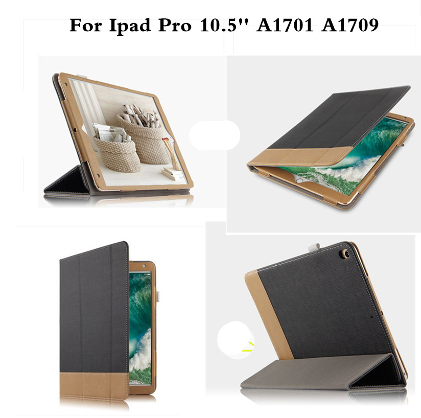 Luxury Protective Cover PU Leather With Magnet Patchwork Auto Wake Up Stand Flip Case For  Ipad Pro 10.5 inch A1701 A1709 Tablet case for funda ipad pro 12 9 luxury business leather case tablet 12 9 inch wake up hand belt holder stand flip bags alabasta