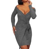 Women Grey Irregular Off Shoulder Dresses Long Sleeve Slash Neck V Neck Front Lace Up Bow