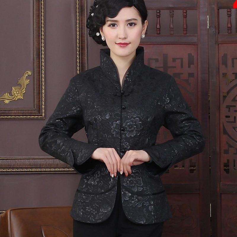 Negro estilo de la tradición china chaquetas delgado elegante capa de la chaquet