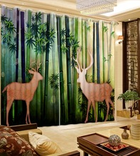 green forest curtains 3D Window Curtain Foggy Luxury Blackout Living Room office Bedroom Customized size