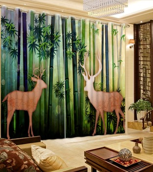 green forest curtains 3D Window Curtain Foggy forest Luxury Blackout Living Room office Bedroom Customized size