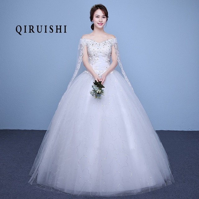 Free Shipping 2017 Short Sleeves Red White Lace Bling Wedding Dresses Plus  size Sequins Princess Bride Frocks Gowns 050 60c4ef3f8922