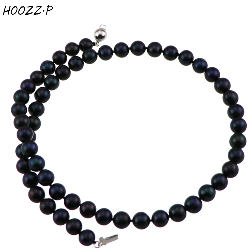 HOOZZ.P Classic Choker Necklace Black 7-8mm Freshwater Cultured Pearl Necklace for women Anniversary цена и фото