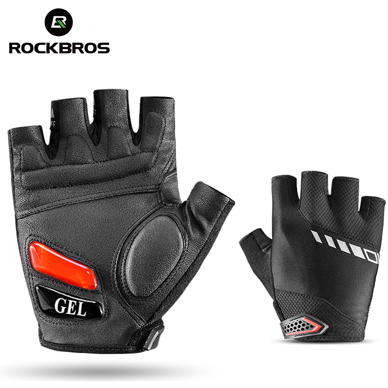 RockBros Cycling Gloves Men's Half Finger Silicone Gel Thickened Pad SBR Shockproof Breathable Mtb Bicycle Bike Short Gloves rockbros non slip breathable mtb bike gloves mens women s summer bicycle cycling gel pad short half finger sport gloves ciclismo
