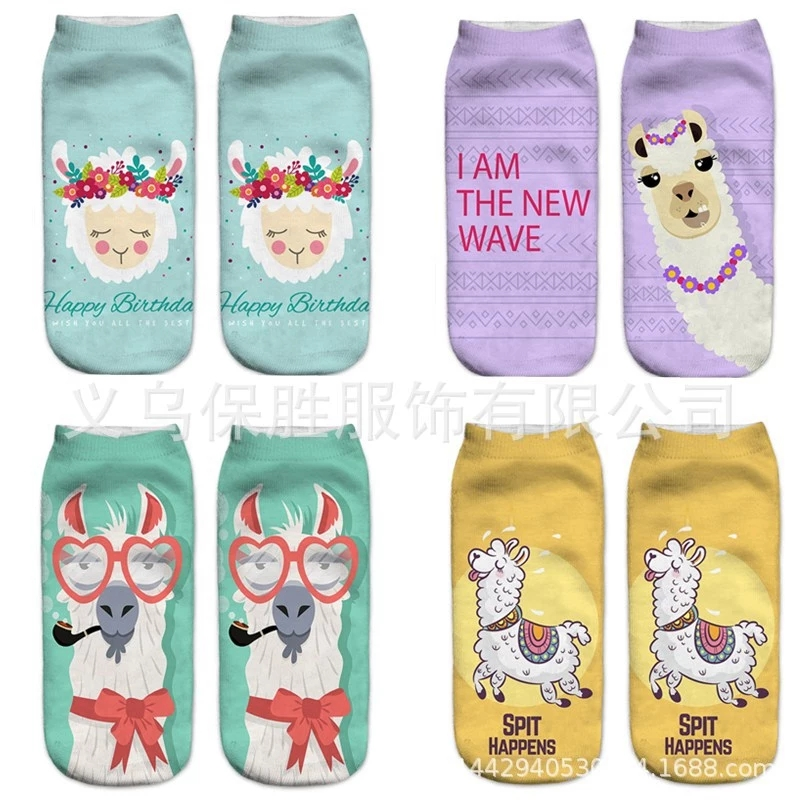 1pair / pack 3D cute cartoon alpaca party pattern hot women's   sock   unisex Fashion polyester   socks   19 * 8cm women   Socks   hot drop