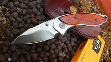 High Hardness Folding Knife Survival Tactical Satin 60HRC Pocket Knife 12C27M Handle Inlaid Wood 1537#
