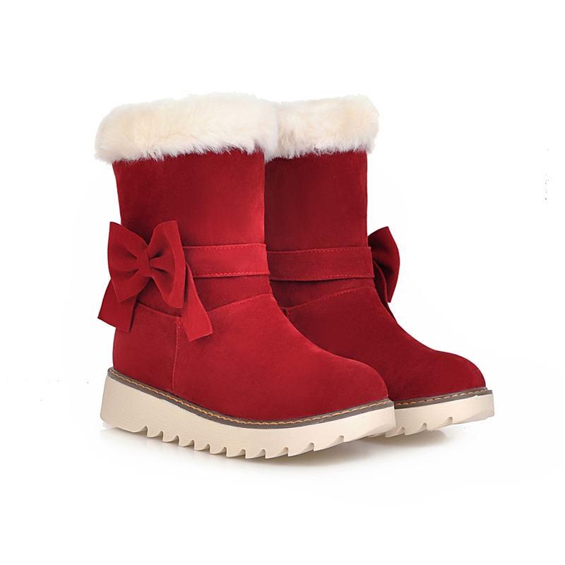 Femme Neige Doux 2018 Chaud Bout Noir red Rond Bottes noeud Smeeroond Au Med Papillon Cheville L'hiver Talons apricot Confortable Campus Chaussures De nw8OX0Pk