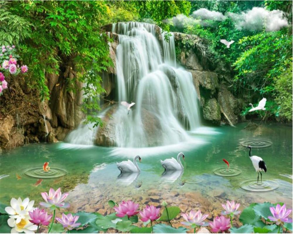 Beibehang papel pintado personalizado 3d estéreo Cisne paisaje ...
