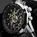 Vencedor de Luxo Relógios Mecânicos Automáticos de Esqueleto Dos Homens Relógio de Aço Inoxidável Completa Assista Relogio Masculino