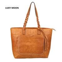Luxy Moon PU Leather Tassel Women Handbags Work Totes Vintage Sac A Main High Quality Shopping