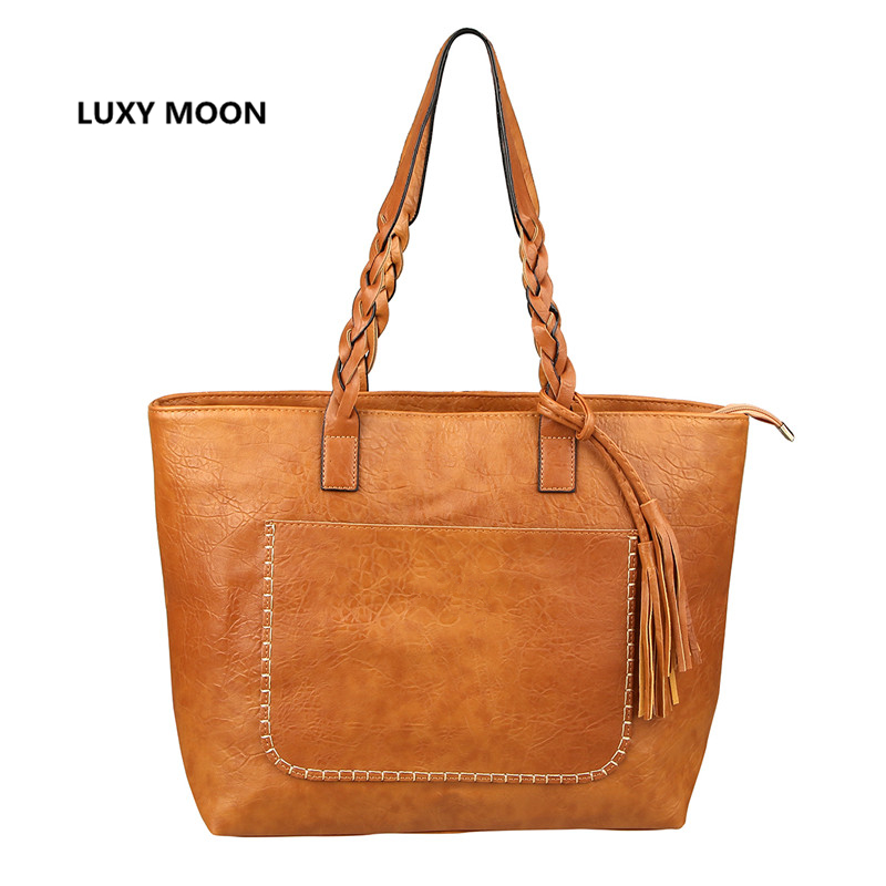 Luxy Lune PU En Cuir Gland Femmes Sacs À Main Emballages de Travail Vintage sac à main de Haute Qualité Shopping Mode Grande Poignée D'épaule sac