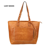 Luxy Moon PU Leather Tassel Women Handbags Work Totes Vintage Sac A Main High Quality Shopping