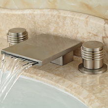 Double Handles Waterfall Basin Sink Mixer Faucet Deck Mount Bathroom Widespread Mixers Tap