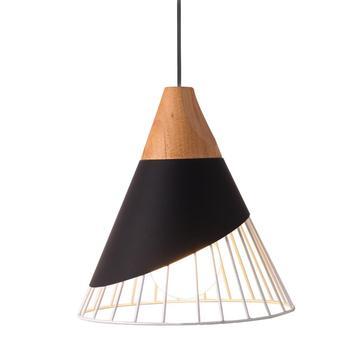 Moderne Anhänger Beleuchtung Kreative Metall Anhänger Lampe Massivholz Kegel Hängenden Lichter Käfig Mini Horn Anhänger Licht Schlafzimmer Ø25CM