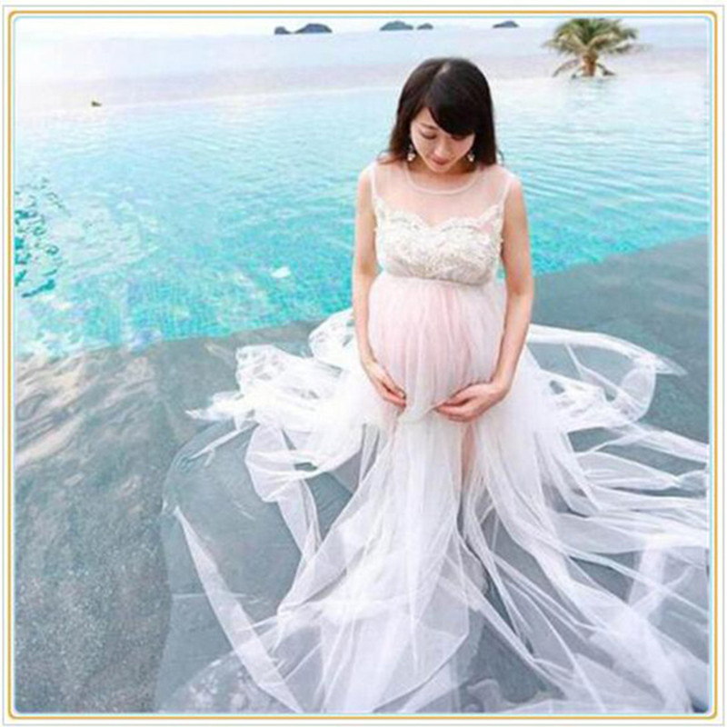 2016 Maternity Fancy photography props summer lace transparant white beach dress Maternity Long lace Dress Pregnant Photography see thru mini lace dress