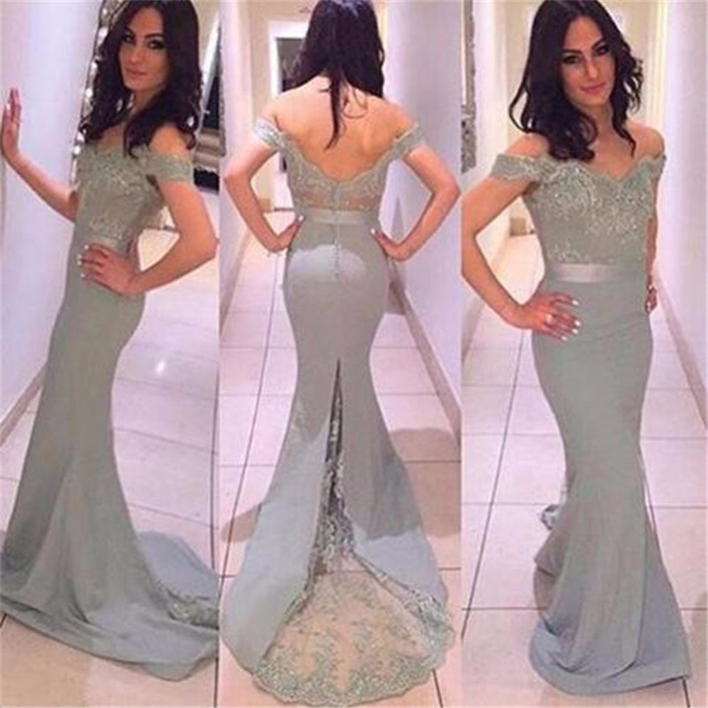 Noble Lace Appliques Bridesmaid Dress Long 2019 Sheer Backless Cap Sleeve Prom Party Dresses Vestido De
