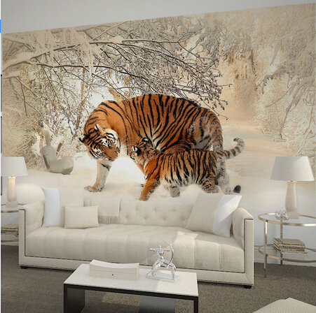 Home Decor Wall Murals Papel De Parede Tigers In Winter Snow Forest Photo Wallpaper Mural For