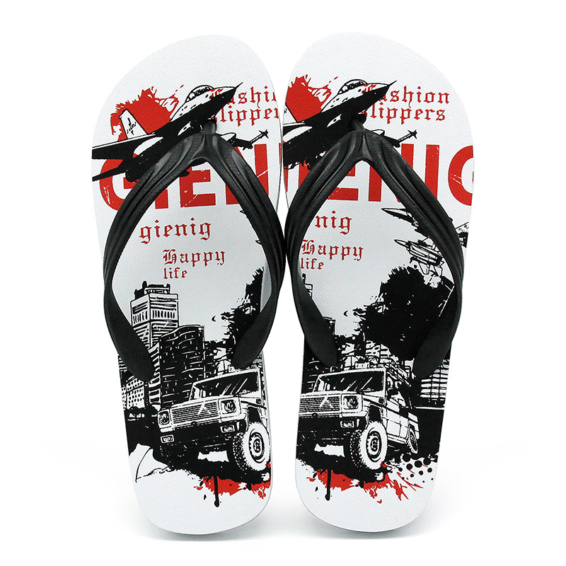 GieniG 2018 summer trend graffiti men's fashion slippers beach - Men's Shoes - Photo 2