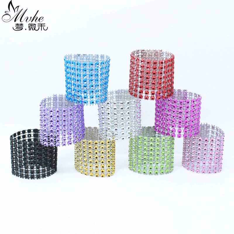 50pcs diamond rhinestone wedding napkin rings chair sashes for Deco table multicolore