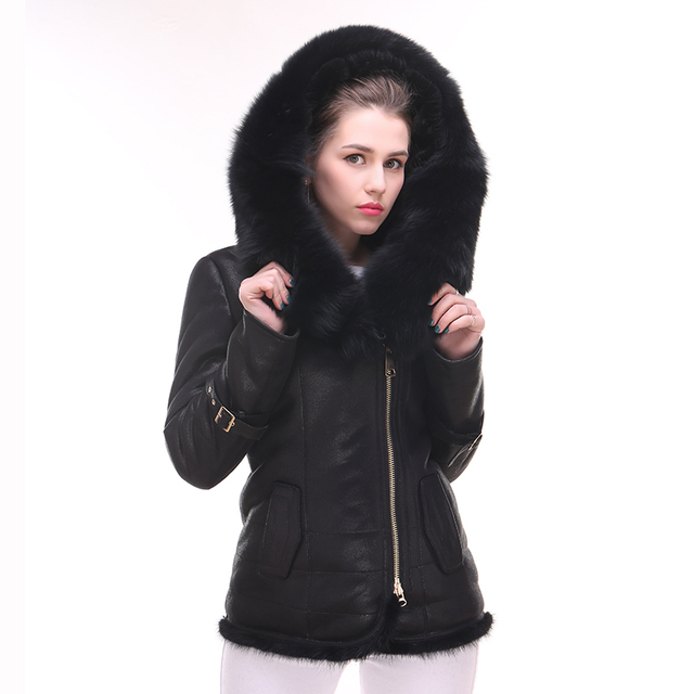 2017 real fox fur Collar Factory direct supply Faux Fur coat women Plush Suede thick Cold Winter sexy bf jackets real mink fur