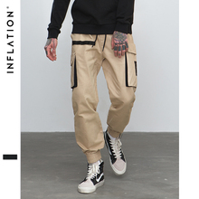 INFLATION 2018 Male Casual Mens Joggers Solid Pants Elastic Waist Cotton Slim Fit