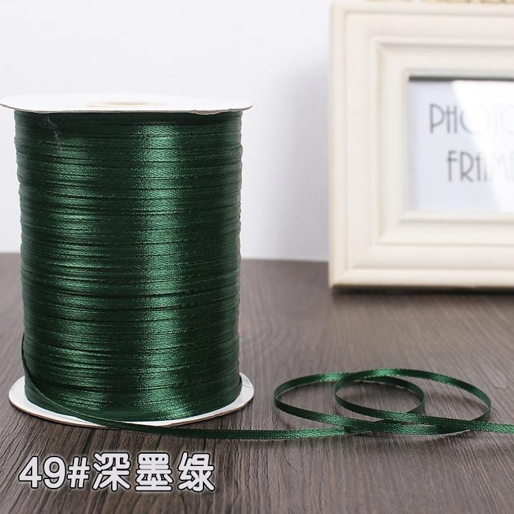 3 мм ширина бордовые атласные ленты 22 метра швейная ткань подарочная упаковка «сделай сам» ленты для свадебного украшения - Цвет: Dark Green
